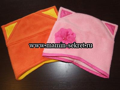 шапочка с тканевым цветком